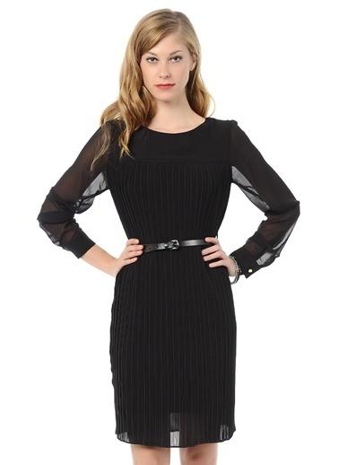 Asymmetry Uzun Kollu Şifon Elbise Siyah